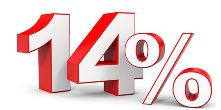 14: Discount 14 percent off. 3D illustration.