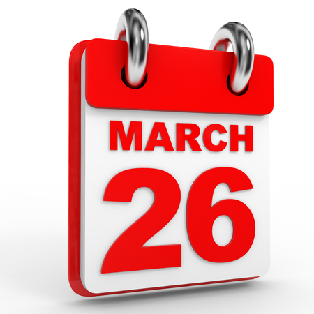 26: 26 march calendar on white background. 3D Illustration. Stock Photo