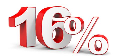 16: Discount 16 percent off. 3D illustration.