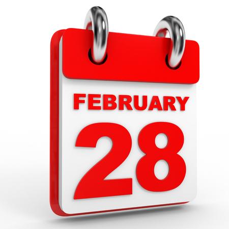 28: 28 february calendar on white background. 3D Illustration. Stock Photo