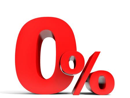 빨간색 0 % 할인. 1 % 할인. 3D 그림입니다.