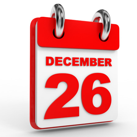 december: 26 december calendar on white background. 3D Illustration.
