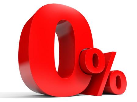 percent sign: Red zero percent off. Discount 1%. 3D illustration.