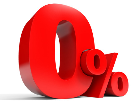 Red zero percent off. Discount 1%. 3D illustration.