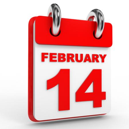 14 of february: 14 february calendar on white background. 3D Illustration.