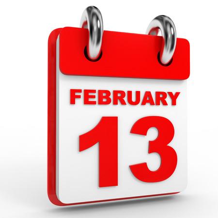 13th: 13 february calendar on white background. 3D Illustration. Stock Photo