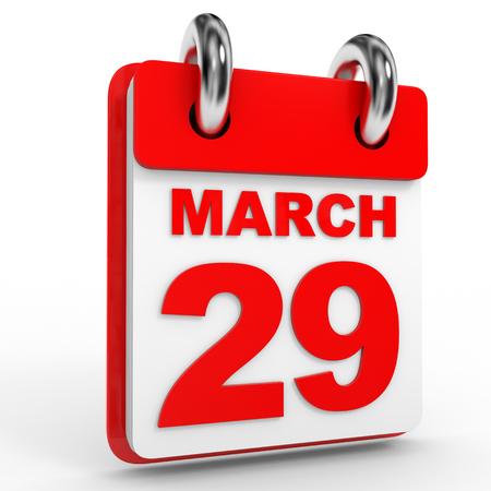 29: 29 march calendar on white background. 3D Illustration.