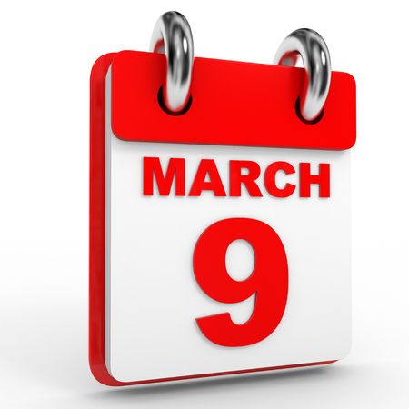 9th: 9 march calendar on white background. 3D Illustration. Stock Photo