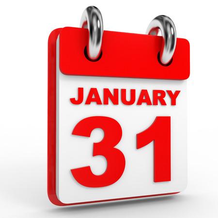 31: 31 january calendar on white background. 3D Illustration.