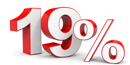 19: Discount 19 percent off. 3D illustration.