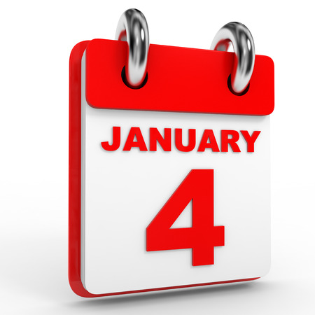 enero: Calendario de 4 de enero, sobre fondo blanco. Ilustración 3D. Foto de archivo