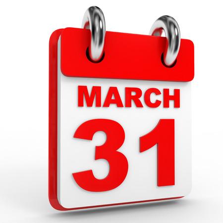 31: 31 march calendar on white background. 3D Illustration. Stock Photo