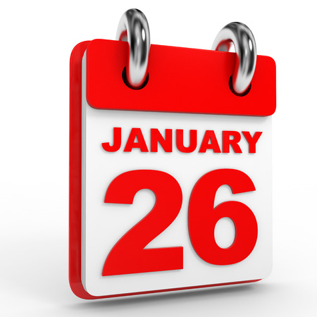 26 january: 26 january calendar on white background. 3D Illustration.