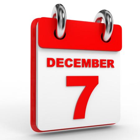 in december: 7 december calendar on white background. 3D Illustration.