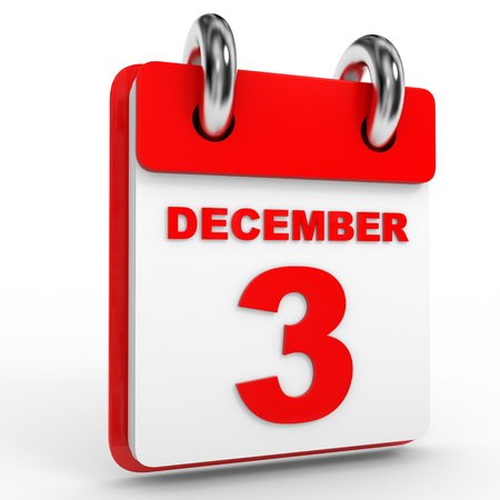 december: 3 december calendar on white background. 3D Illustration.