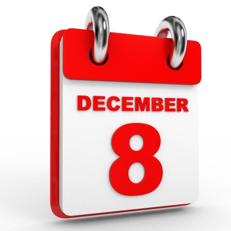 december calendar: 8 december calendar on white background. 3D Illustration.