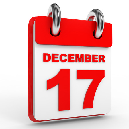 seventeenth: 17 december calendar on white background. 3D Illustration.