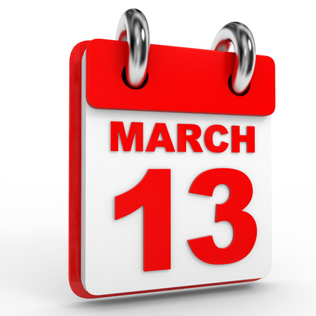 13: 13 march calendar on white background. 3D Illustration.