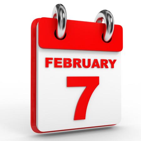 seventh: 7 february calendar on white background. 3D Illustration. Stock Photo