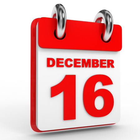 sixteenth note: 16 december calendar on white background. 3D Illustration.