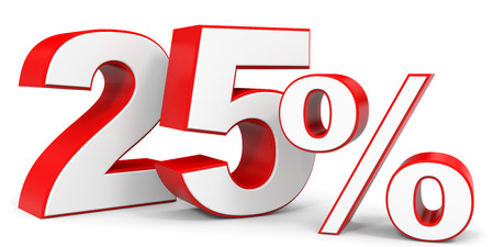 price hit: Discount 25 percent off. 3D illustration. Stock Photo