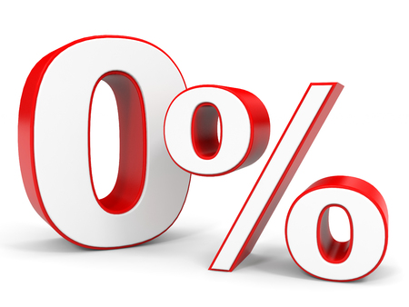 Remise 0 pour cent de réduction. illustration 3D.