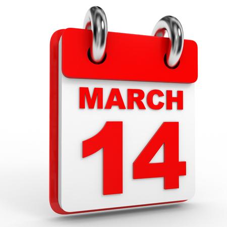 fourteenth: 14 march calendar on white background. 3D Illustration.