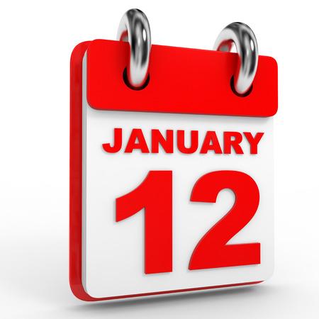12: 12 january calendar on white background. 3D Illustration.