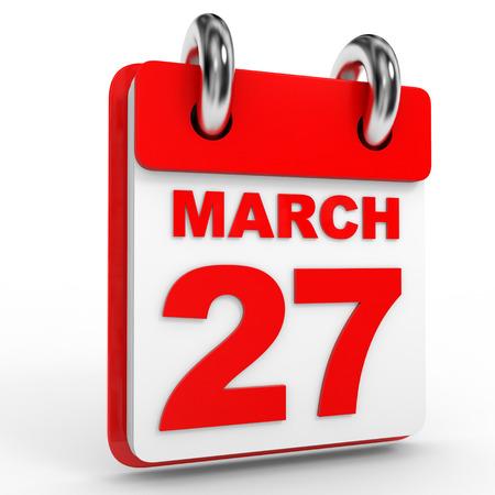 27: 27 march calendar on white background. 3D Illustration.