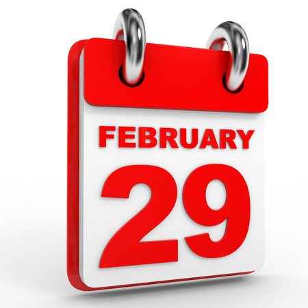 twenty ninth: 29 february calendar on white background. 3D Illustration. Stock Photo