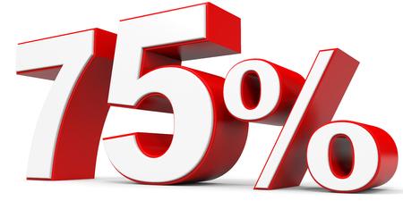 price hit: Discount 75 percent off. 3D illustration. Stock Photo