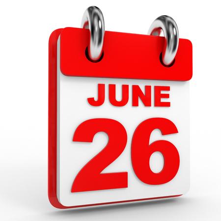 twenty six: 26 june calendar on white background. 3D Illustration. Stock Photo