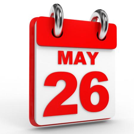 twenty sixth: 26 may calendar on white background. 3D Illustration. Stock Photo