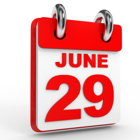 twenty ninth: 29 june calendar on white background. 3D Illustration. Stock Photo