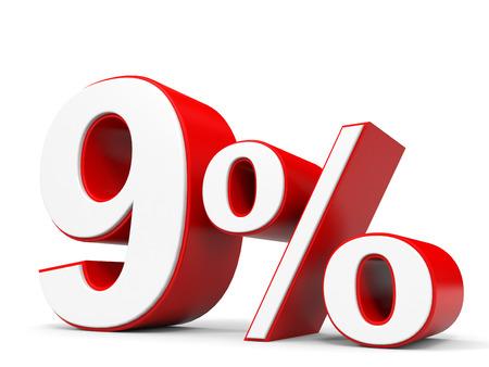 price hit: Discount 9 percent off. 3D illustration. Stock Photo