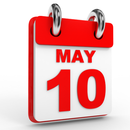 10th: 10 may calendar on white background. 3D Illustration.
