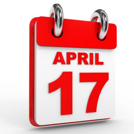 seventeenth: 17 april calendar on white background. 3D Illustration. Stock Photo