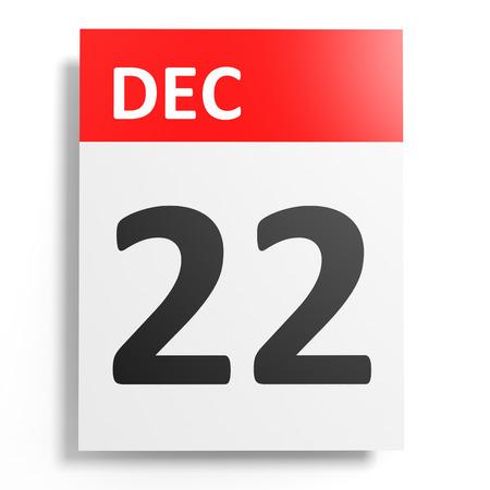twenty second: Calendar on white background. 22 December. 3D illustration.
