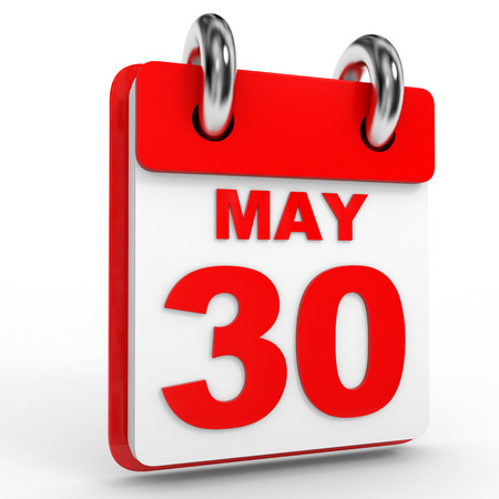 the 30: 30 may calendar on white background. 3D Illustration.
