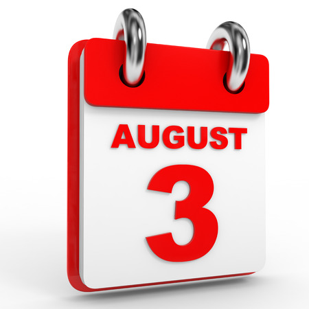 august: 3 august calendar on white background. 3D Illustration. Stock Photo