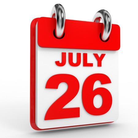 twenty six: 26 july calendar on white background. 3D Illustration.