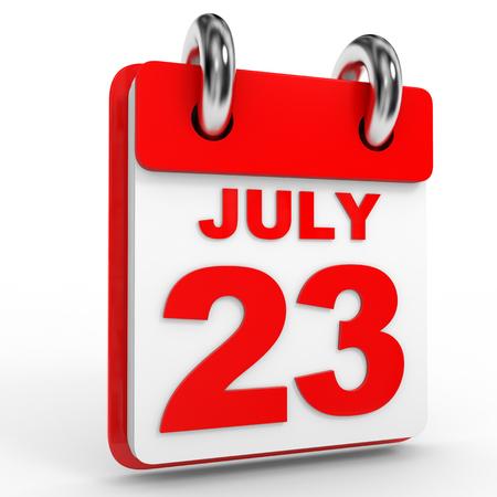calendario julio: 23 Calendario julio sobre fondo blanco. Ilustración 3D.