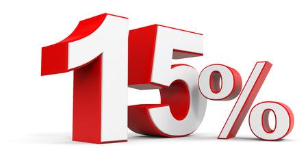 Discount 15 percent off. 3D illustration.