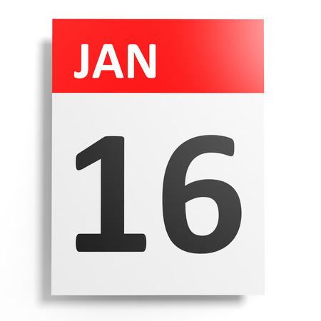 16: Calendar on white background. 16 January. 3D illustration.