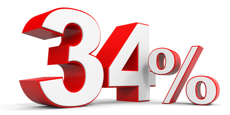 34: Discount 34 percent off. 3D illustration. Stock Photo