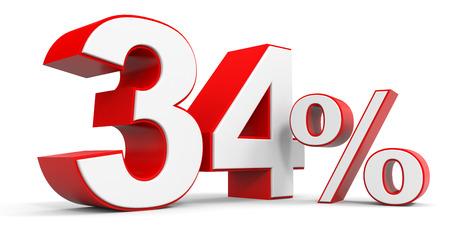 price hit: Discount 34 percent off. 3D illustration. Stock Photo