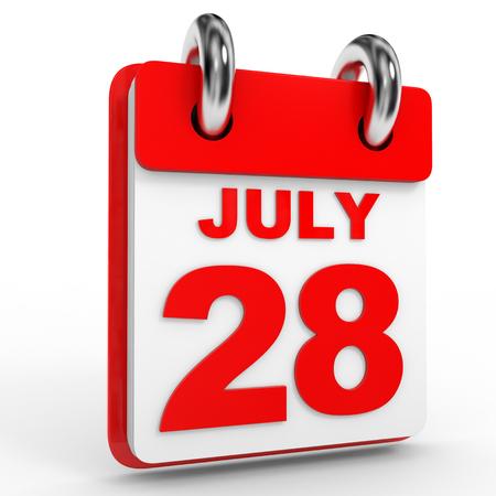 calendario julio: 28 de julio del calendario en el fondo blanco. Ilustración 3D.