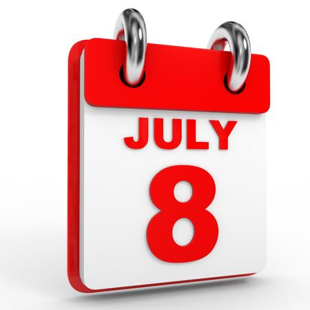 calendario julio: 8 july calendar on white background. 3D Illustration.