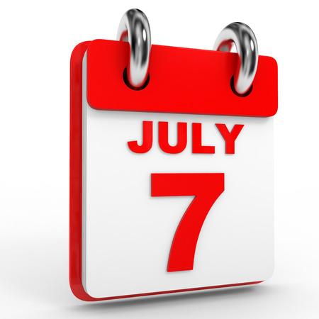 july calendar: 7 Calendario julio sobre fondo blanco. Ilustraci�n 3D.