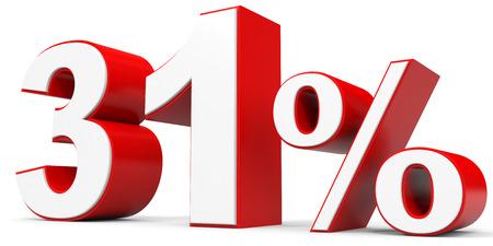31: Discount 31 percent off. 3D illustration.